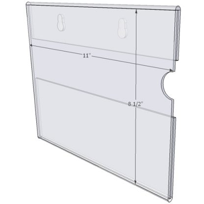 "WM1185CKH - 11"" X 8.5"" (Landscape - C-Style with Keyholes) - Wall Mount Acrylic Sign Holder - Standard - 1/8 Inch Thickness"