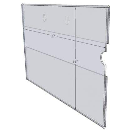 "WM1711CKH - 17"" X 11"" (Landscape - C-Style with Keyholes) - Wall Mount Acrylic Sign Holder - Standard - 1/8 Inch Thickness"