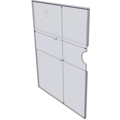 """WM1114CKH - 11"""" X 14"""" (Portrait - C-Style with Keyholes) - Wall Mount Acrylic Sign Holder - Standard - 1/8 Inch Thickness"""