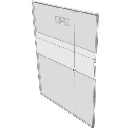 """WM1114CST - 11"""" X 14"""" (Portrait - C-Style with Saw Tooth) - Wall Mount Acrylic Sign Holder - Economy - .08 Inch Thickness"""