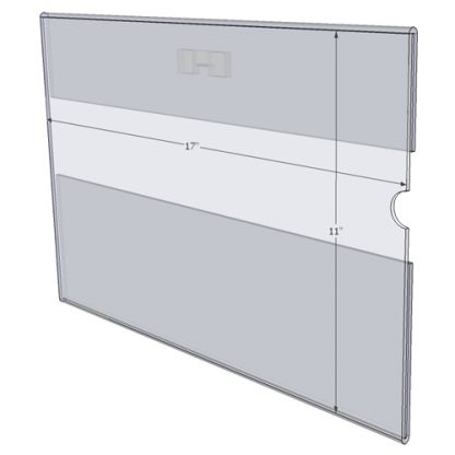 """WM1711CST - 17"""" X 11"""" (Landscape - C-Style with Saw Tooth) - Wall Mount Acrylic Sign Holder - Standard - 1/8 Inch Thickness"""