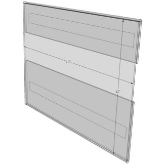 """WM1411CT - 14"""" X 11"""" (Landscape - C-Style with Tape) - Wall Mount Acrylic Sign Holder - Standard - 1/8 Inch Thickness"""