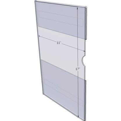 """WM1117CT - 11"""" X 17"""" (Portrait - C-Style with Tape) - Wall Mount Acrylic Sign Holder - Standard - 1/8 Inch Thickness"""