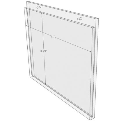11 x 8.5 wall mount sign holder (Landscape - with Screw Holes) - Wall Mount Acrylic Sign Holder - Economy - .08 Inch Thickness