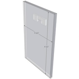 "WM5585FST - 5.5"" X 8.5"" (Portrait - Flush with Saw Tooth) - Wall Mount Acrylic Sign Holder - Standard - 1/8 Inch Thickness"