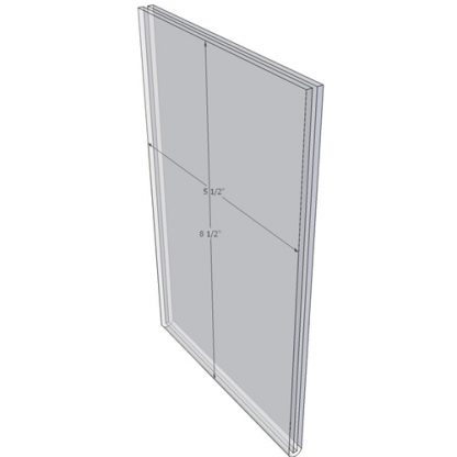 5.5 x 8.5 wall sign holder (Portrait - Flush Sign Holder Only) - Wall Mount Acrylic Sign Holder - Economy - .08 Inch Thickness