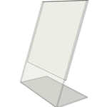 "TB4060 - 4"" X 6"" slant back (Portrait) - Tilt Back Acrylic Sign Holder - Economy - .08 Inch Thickness"