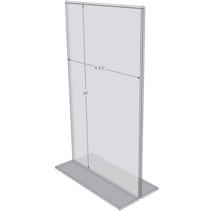 """OB8514 - 8.5"""" X 14"""" countertop sign holder (Portrait) - 1/8 Inch Thickness"""
