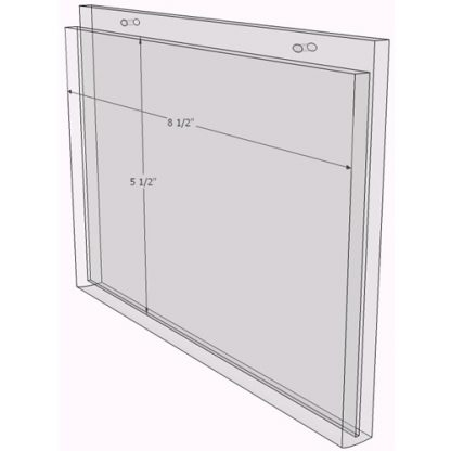 8.5 x 5.5 wall mount sign holder (Landscape - with Screw Holes) - Wall Mount Acrylic Sign Holder - Economy - .08 Inch Thickness