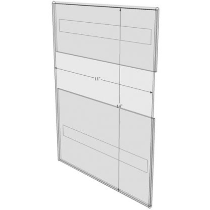 """WM1114CV - 11"""" X 14"""" (Portrait - C-Style with Velcro) - Wall Mount Acrylic Sign Holder - Standard - 1/8 Inch Thickness"""