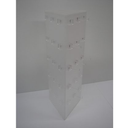 3 Sided Triangle 45 Peg Frosted Display - With Base