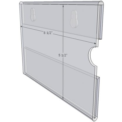 """WM8555CKH - 8.5"""" X 5.5"""" (Landscape - C-Style - with Keyholes) - Wall Mount Acrylic Sign Holder - Standard - 1/8 Inch with Vertical Business Card Holder"""