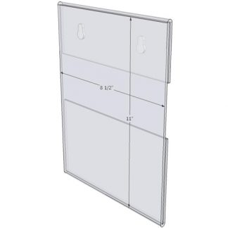 "WM8511CKH - 8.5"" X 11"" (Portrait - C-Style with Keyholes) - Wall Mount Acrylic Sign Holder - Standard - 1/8 Inch with Horizontal Business Card Holder"
