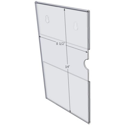 """WM8514CKH - 8.5"""" X 14"""" (Portrait - C-Style with Keyholes) - Wall Mount Acrylic Sign Holder - Standard - 1/8 Inch with Horizontal Business Card Holder"""