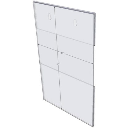 "WM1117CKH - 11"" X 17"" (Portrait - C-Style with Keyholes) - Wall Mount Acrylic Sign Holder - Standard - 1/8 Inch with Horizontal Business Card Holder"