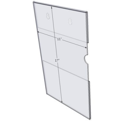 "WM1117CKH - 11"" X 17"" (Portrait - C-Style with Keyholes) - Wall Mount Acrylic Sign Holder - Standard - 1/8 Inch with Vertical Business Card Holder"