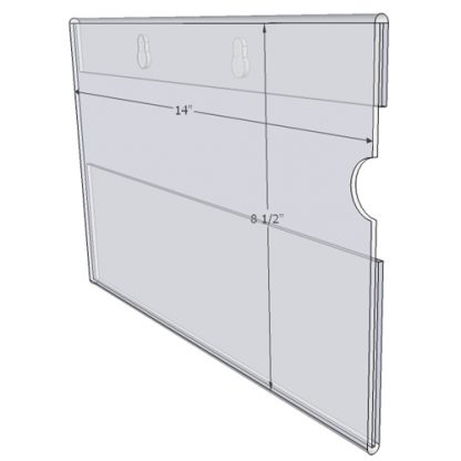 """WM1485CKH - 14"""" X 8.5"""" (Landscape - C-Style with Keyholes) - Wall Mount Acrylic Sign Holder - Standard - 1/8 Inch with Horizontal Business Card Holder"""