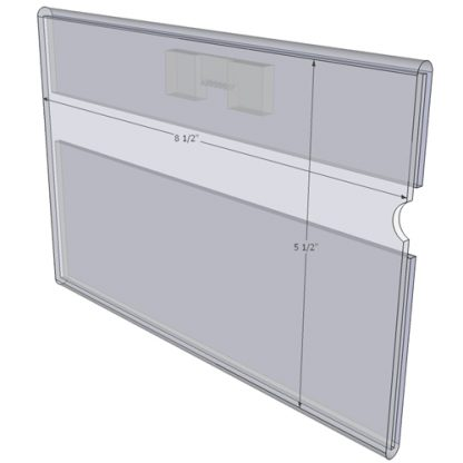 """WM8555CST - 8.5"""" X 5.5"""" (Landscape - C-Style with Saw Tooth) - Wall Mount Acrylic Sign Holder - Standard - 1/8 Inch with Vertical Business Card Holder"""