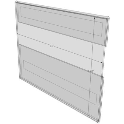 """WM1185CT - 11"""" X 8.5"""" (Landscape - C-Style with Tape) - Wall Mount Acrylic Sign Holder - Standard - 1/8 Inch with Horizontal Business Card Holder"""