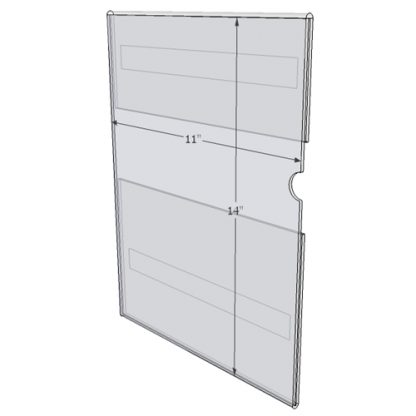 "WM1114CT - 11"" X 14"" (Portrait - C-Style with Tape) - Wall Mount Acrylic Sign Holder - Standard - 1/8 Inch with Vertical Business Card Holder"