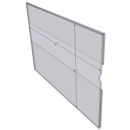 "WM1711CT - 17"" X 11"" (Landscape - C-Style with Tape) - Wall Mount Acrylic Sign Holder - Standard - 1/8 Inch with Vertical Business Card Holder"
