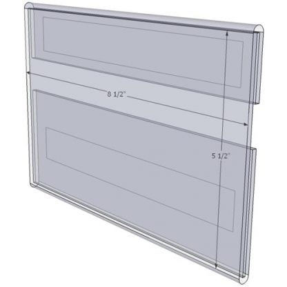 """WM8555CV - 8.5"""" X 5.5"""" (Landscape - C-Style with Velcro) - Wall Mount Acrylic Sign Holder - Standard - 1/8 Inch with Vertical Business Card Holder"""