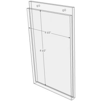5.5 x 8.5 wall mount sign holder (Portrait - with Screw Holes) - Wall Mount Acrylic Sign Holder - Standard - 1/8 Inch with Brochure Pocket