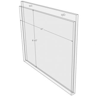 11 x 8.5 wall mount sign holder (Landscape - with Screw Holes) - Wall Mount Acrylic Sign Holder - Standard - 1/8 Inch with Horizontal Business Card Holder
