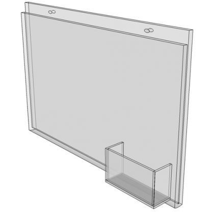 11 x 8.5 wall mount sign holder (Landscape - with Screw Holes) - Wall Mount Acrylic Sign Holder - Standard - 1/8 Inch with Vertical Business Card Holder