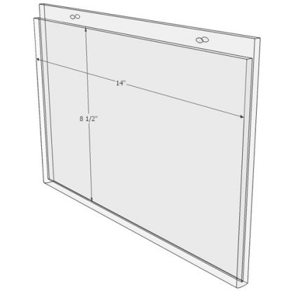 14 x 8.5 wall mount sign holder(Landscape - with Screw Holes) - Wall Mount Acrylic Sign Holder - Standard - 1/8 Inch with Horizontal Business Card Holder
