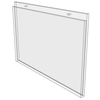 14 x 11 wall mount sign holder (Landscape - with Screw Holes) - Wall Mount Acrylic Sign Holder - Standard - 1/8 Inch with Horizontal Business Card Holder
