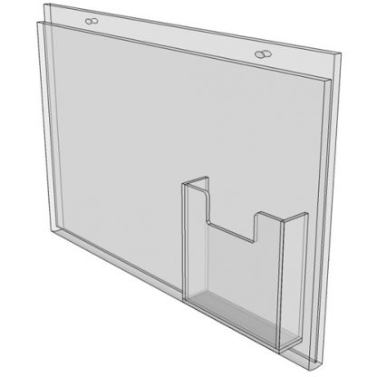 17 x 11 wall mount sign holder (Landscape - with Screw Holes) - Wall Mount Acrylic Sign Holder - Standard - 1/8 Inch with Brochure Pocket