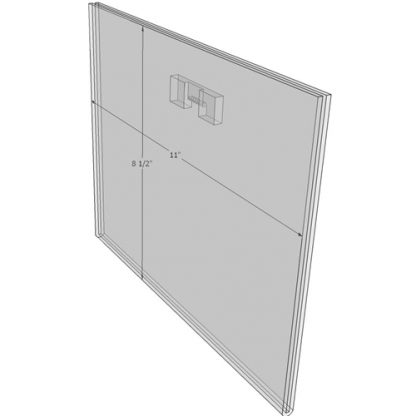 "WM1185FST - 11"" X 8.5"" (Landscape - Flush with Saw Tooth) - Wall Mount Acrylic Sign Holder - Standard - 1/8 Inch with Horizontal Business Card Holder"