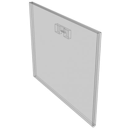 """WM1290FST - 12"""" X 9"""" (Landscape - Flush with Saw Tooth) - Wall Mount Acrylic Sign Holder - Standard - 1/8 Inch with Horizontal Business Card Holder"""