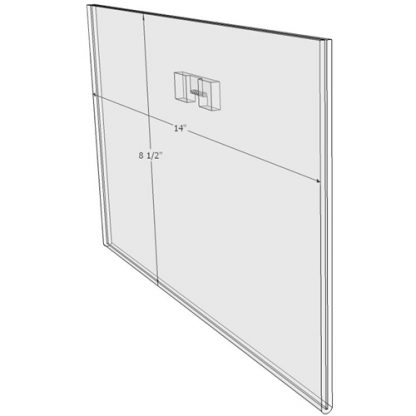 "WM1485FST - 14"" X 8.5"" (Landscape - Flush with Saw Tooth) - Wall Mount Acrylic Sign Holder - Standard - 1/8 Inch with Vertical Business Card Holder"