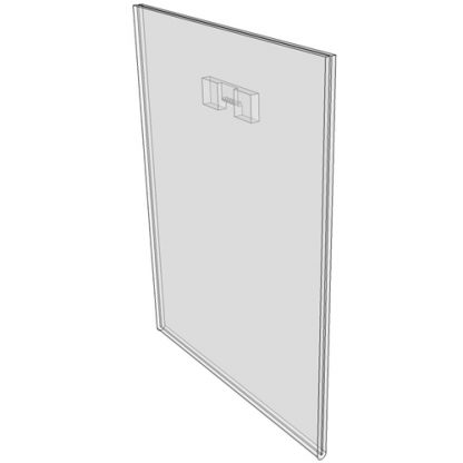 "WM5070FST - 5"" X 7"" (Portrait - Flush with Saw Tooth) - Wall Mount Acrylic Sign Holder - Standard - 1/8 Inch with Horizontal Business Card Holder"