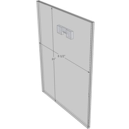"WM8511FST - 8.5"" X 11"" (Portrait - Flush with Saw Tooth) - Wall Mount Acrylic Sign Holder - Standard - 1/8 Inch with Vertical Business Card Holder"