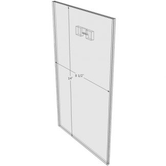"WM8514FST - 8.5"" X 14"" (Portrait - Flush with Saw Tooth) - Wall Mount Acrylic Sign Holder - Standard - 1/8 Inch with Vertical Business Card Holder"