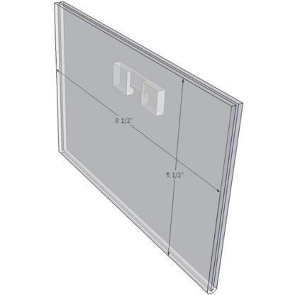 "WM8555FST - 8.5"" X 5.5"" (Landscape - Flush with Saw Tooth) - Wall Mount Acrylic Sign Holder - Standard - 1/8 Inch with Horizontal Business Card Holder"