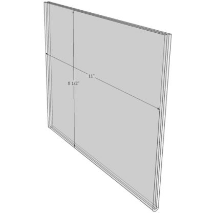 11 x 8.5 wall sign holder (Landscape - Flush Sign Holder Only) - Wall Mount Acrylic Sign Holder - Standard - 1/8 Inch with Vertical Business Card Holder