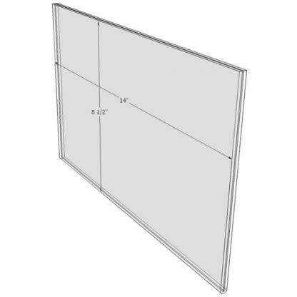 14 x 8.5 wall sign holder (Landscape - Flush Sign Holder Only) - Wall Mount Acrylic Sign Holder - Standard - 1/8 Inch with Horizontal Business Card Holder