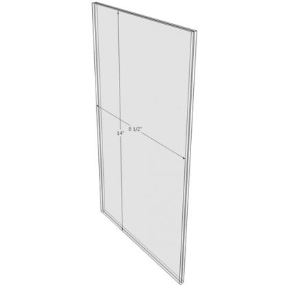 8.5 x 14 wall sign holder (Portrait - Flush Sign Holder Only) - Wall Mount Acrylic Sign Holder - Standard - 1/8 Inch with Vertical Business Card Holder