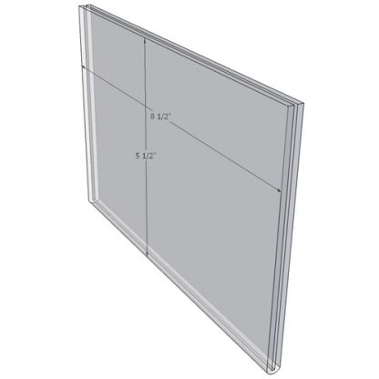 8.5 x 5.5 wall sign holder (Landscape - Flush Sign Holder Only) - Wall Mount Acrylic Sign Holder - Standard - 1/8 Inch with Horizontal Business Card Holder