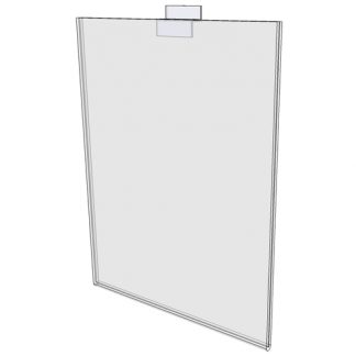 "WM1114FSW - 11"" X 14"" sign holder (Portrait - Flush with Slat Wall) - Wall Mount Acrylic Sign Holder - Standard - 1/8 Inch with Vertical Business Card Holder"