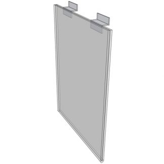 "WM1117FSW - 11"" X 17"" sign holder (Portrait - Flush with Slat Wall) - Wall Mount Acrylic Sign Holder - Standard - 1/8 Inch with Vertical Business Card Holder"