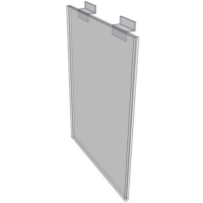 "WM1117FSW - 11"" X 17"" sign holder (Portrait - Flush with Slat Wall) - Wall Mount Acrylic Sign Holder - Standard - 1/8 Inch with Horizontal Business Card Holder"