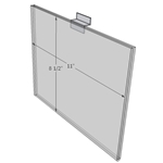 "WM1185FSW - 11"" X 8.5"" sign holder (Landscape - Flush with Slat Wall) - Wall Mount Acrylic Sign Holder - Standard - 1/8 Inch with Horizontal Business Card Holder"