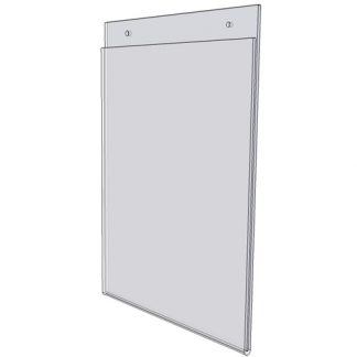 "WM1411FSW - 14"" X 11"" sign holder (Landscape - Flush with Slat Wall) - Wall Mount Acrylic Sign Holder - Standard - 1/8 Inch with Vertical Business Card Holder"