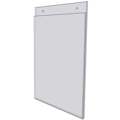 "WM1411FSW - 14"" X 11"" sign holder (Landscape - Flush with Slat Wall) - Wall Mount Acrylic Sign Holder - Standard - 1/8 Inch with Horizontal Business Card Holder"