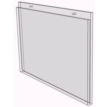 "WM1485FSW - 14"" X 8.5"" sign holder (Landscape - Flush with Slat Wall) - Wall Mount Acrylic Sign Holder - Standard - 1/8 Inch with Horizontal Business Card Holder"